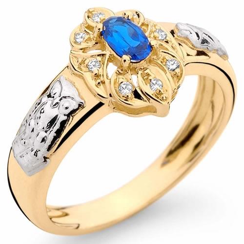 Anel de Formatura Personaliz�vel com Safira Azul