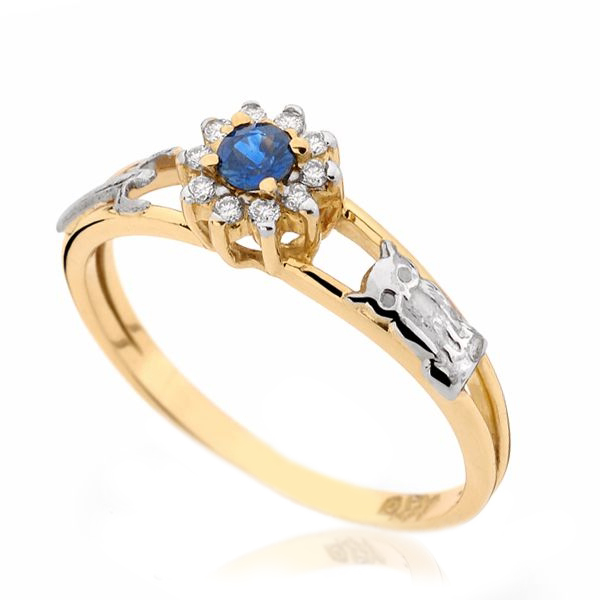 Anel de Formatura Safira Azul Natural em Ouro