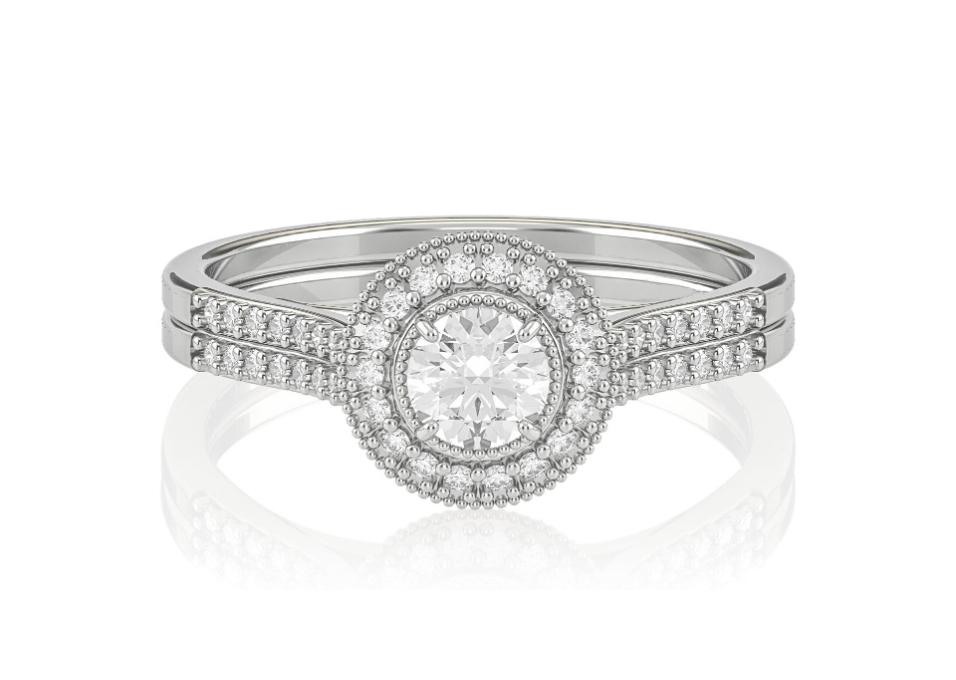 Anel de Noivado com Dois Aros de Diamantes