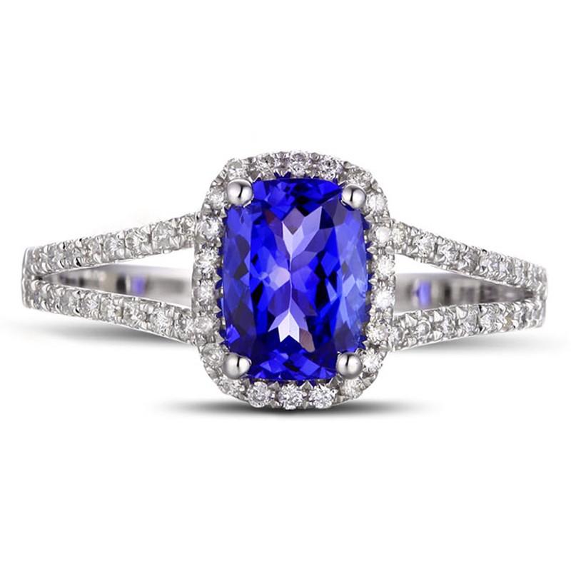 Anel de Noivado com Safira Azul