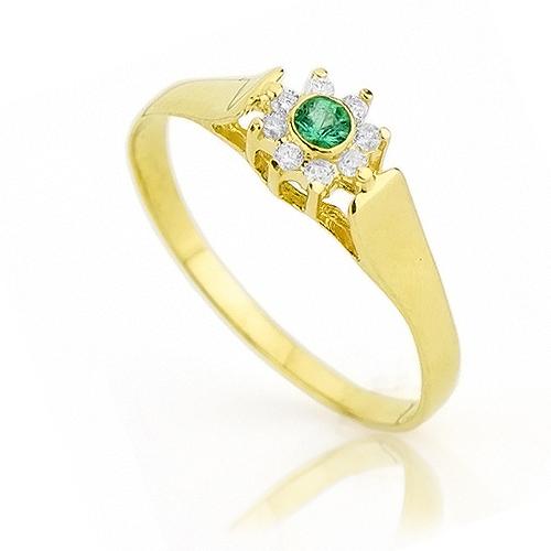 Anel em Ouro Luz Verde