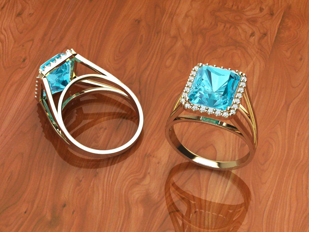 Anel Embelleze com Top�zio e Diamantes