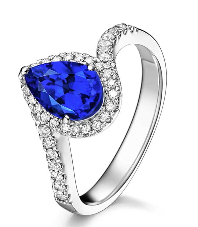 Anel Gota com Safira Azul Sintética e Diamantes