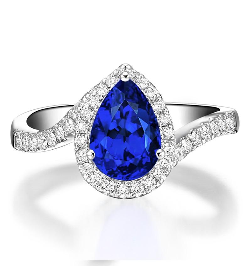 Anel Gota com Safira Azul Sint�tica e Diamantes