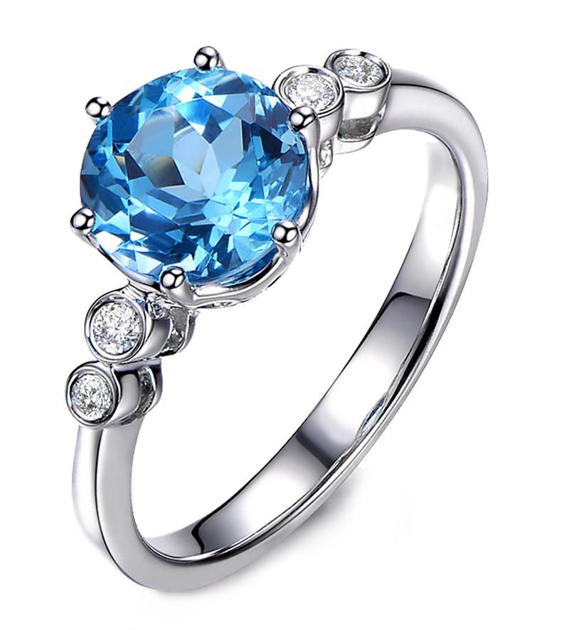 Anel Gr�cia �gua Marinha com Diamantes
