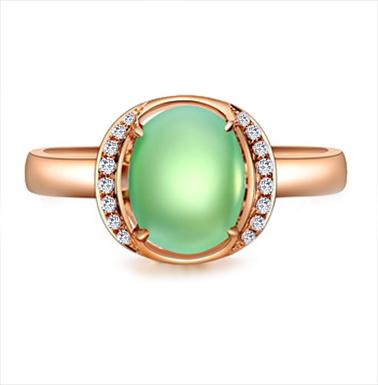 Anel Jade Oval com Pedras