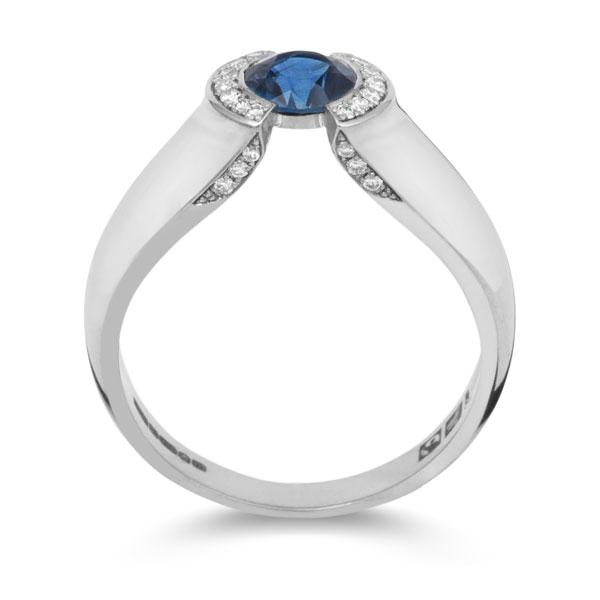 Anel Olho Azul com Diamantes Laterais