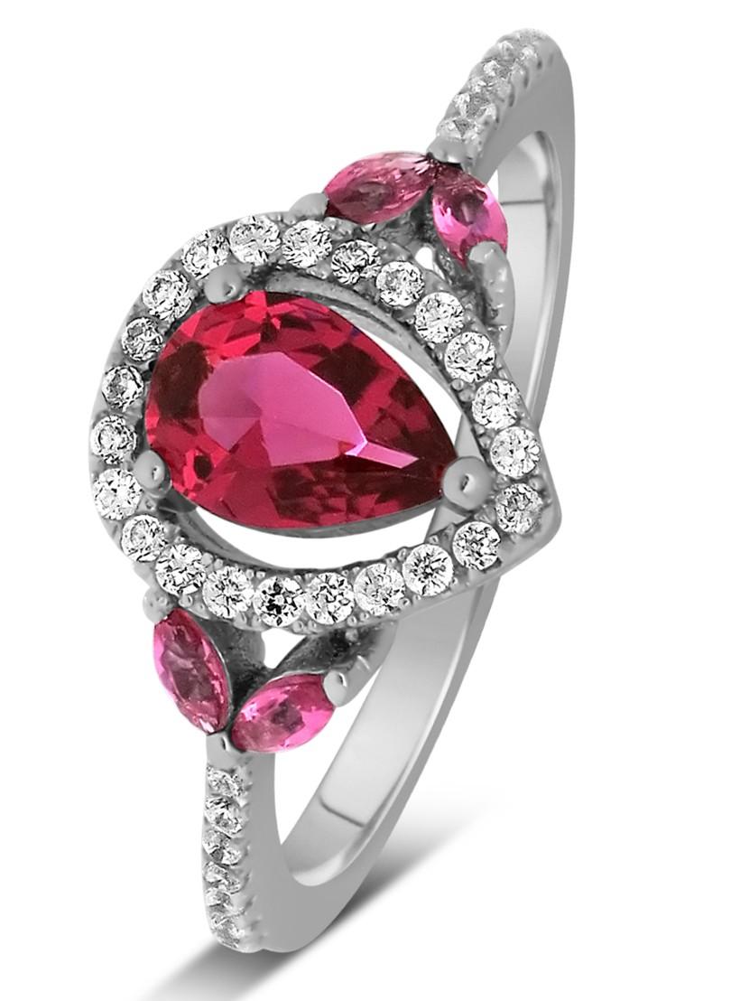 Anel Rosas de Rubi com Diamantes Laterais