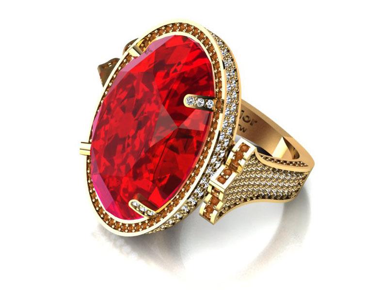 Anel Setting com Diamantes e Nefrita Vermelha