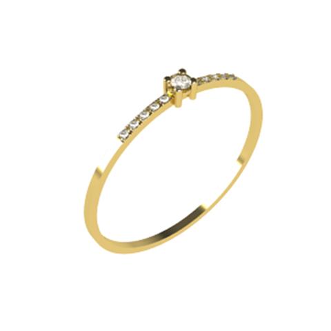 Anel Solitário Basic Com Diamantes