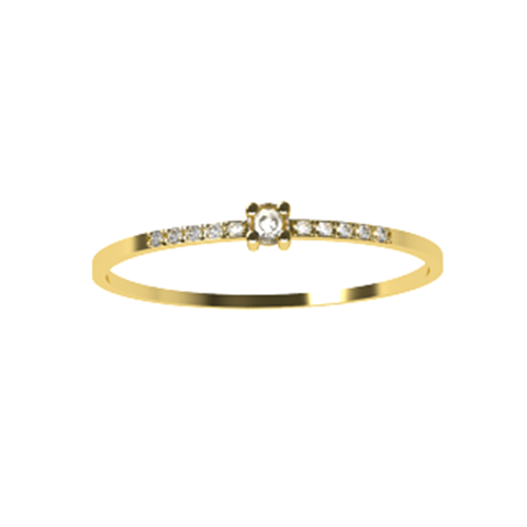 Anel Solit�rio Basic Com Diamantes