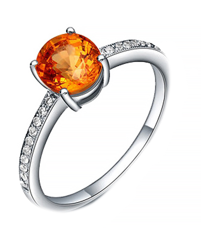 Anel Solit�rio Citrino com Diamantes