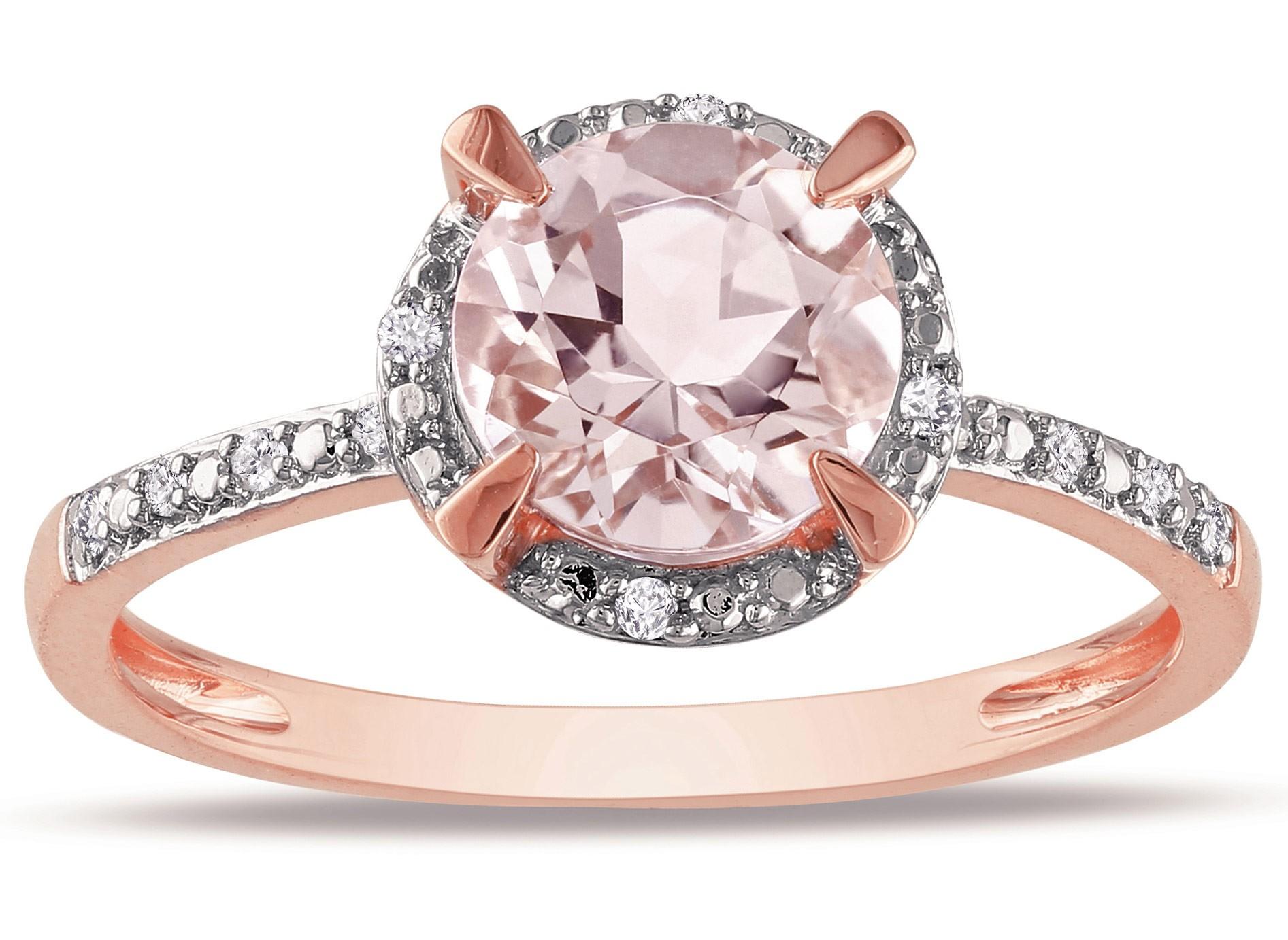Anel Solitário com Diamantes e Quartzo Rosa