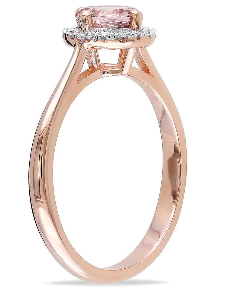 Anel Solit�rio com Quartzo Rosa e Diamantes