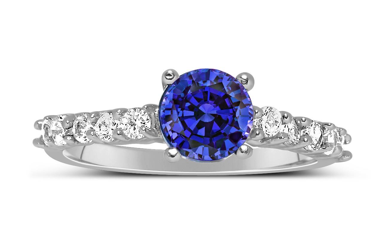 Anel Solitário com Safira Azul e Diamantes