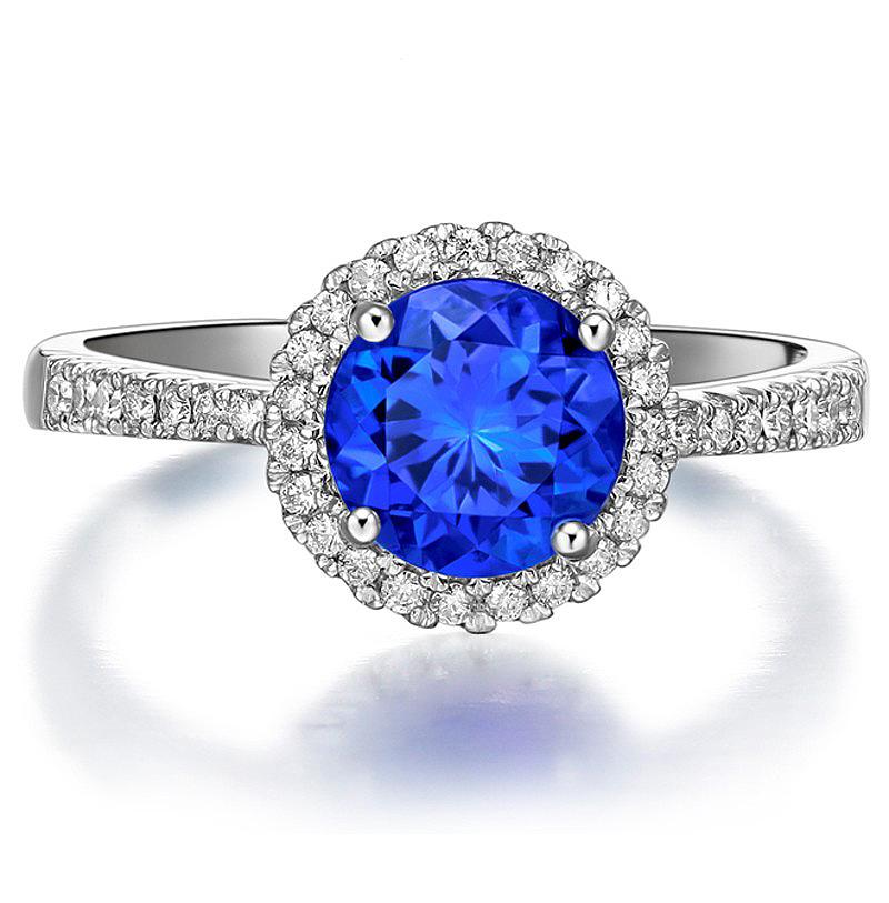 Anel Solit�rio Olha Azul com Diamantes