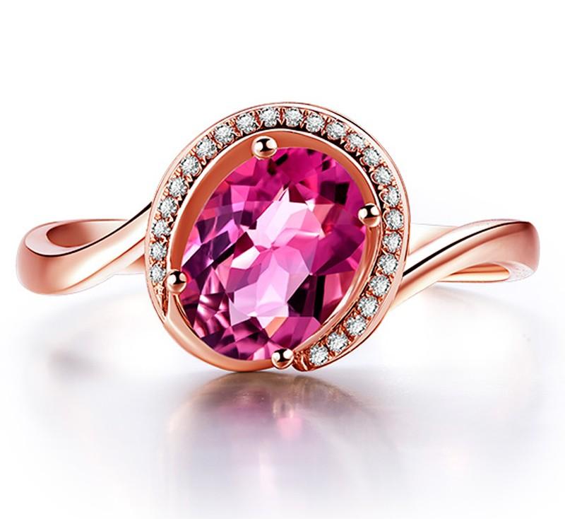 Anel Style Turmalina Rosa