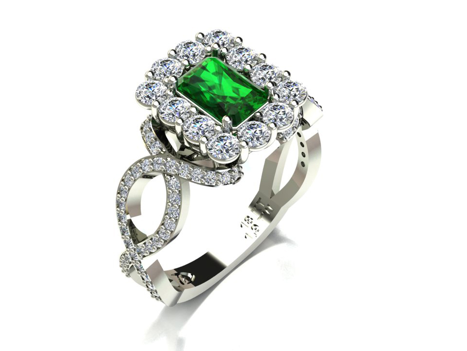 Anel Tipo Esmeralda Vintage com Diamantes