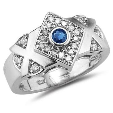 Anel Triângulo com Safira Natural e Diamantes