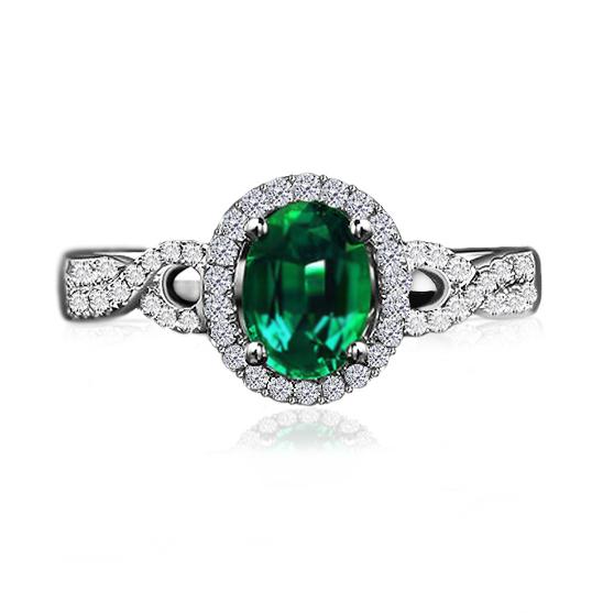 Anel Vintage com Esmeralda Sint�tica e Diamantes
