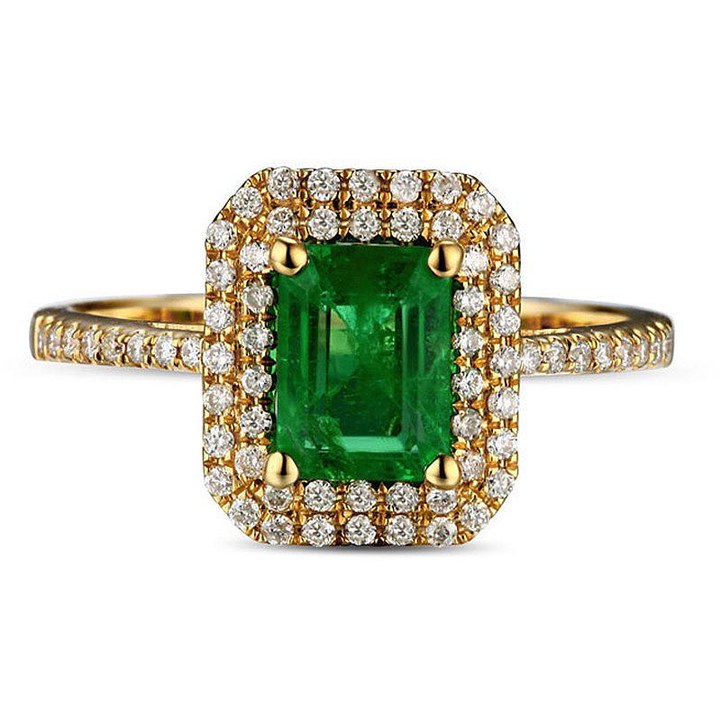 Anel Vintage Retangular com Esmeralda e Diamantes