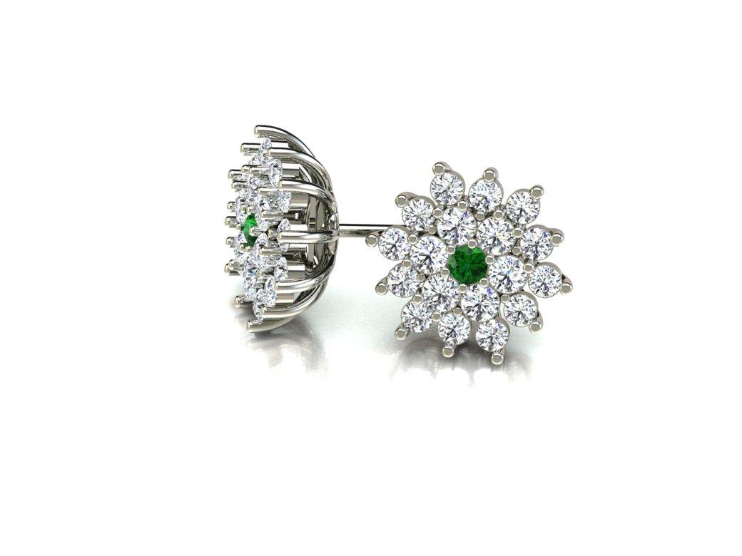 Brinco Chuveiro Esmeralda e Diamantes