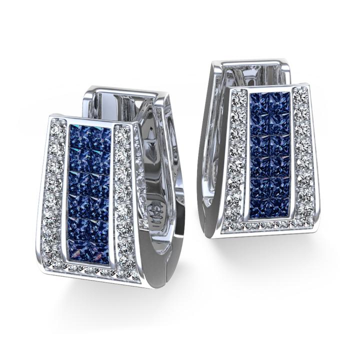 Brinco de Diamantes Pelle com Safiras