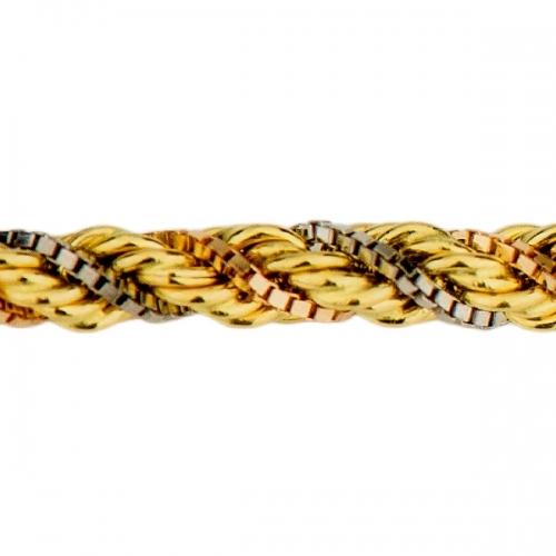 Corrente Torcida Multi Cores em Ouro 18k