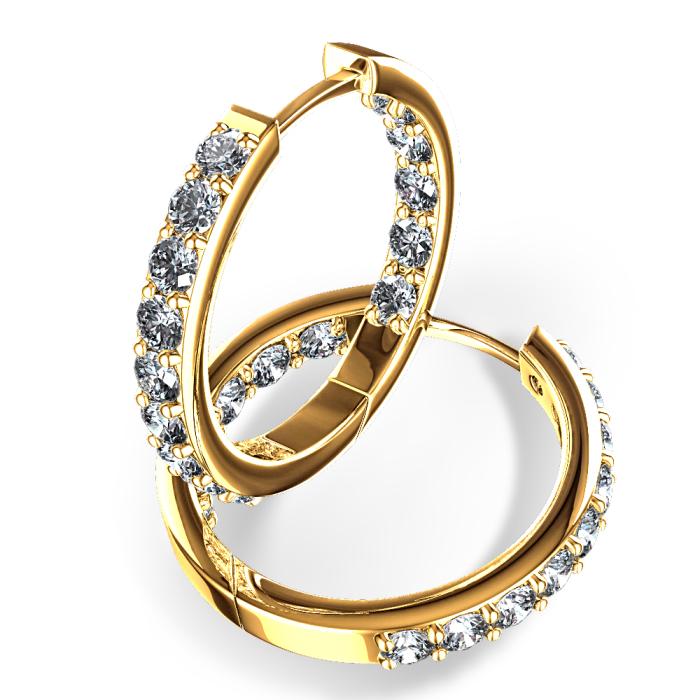 Par deBrincos de Argola Meio Aro com Diamantes