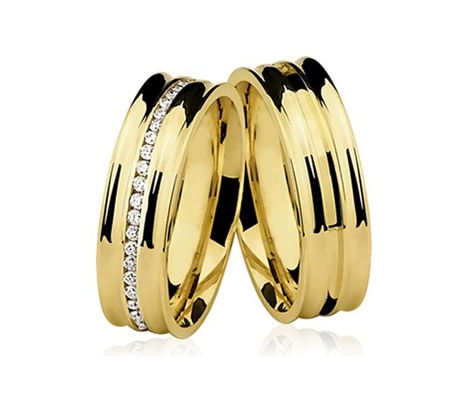 Par de Alian�a de Casamento Banda em Ouro