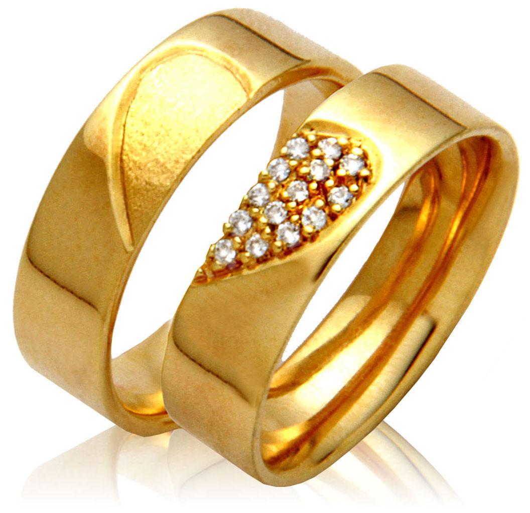 Par de Aliança de Casamento e Noivado Coração com Diamantes