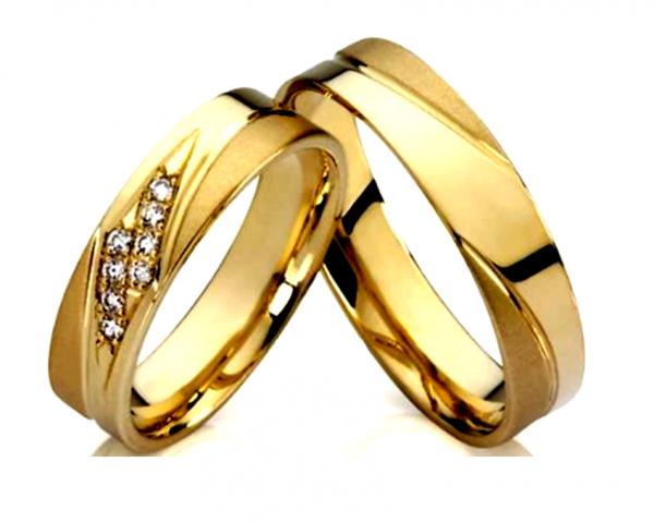 Par de Aliança de Noivado Dois Carre em Ouro