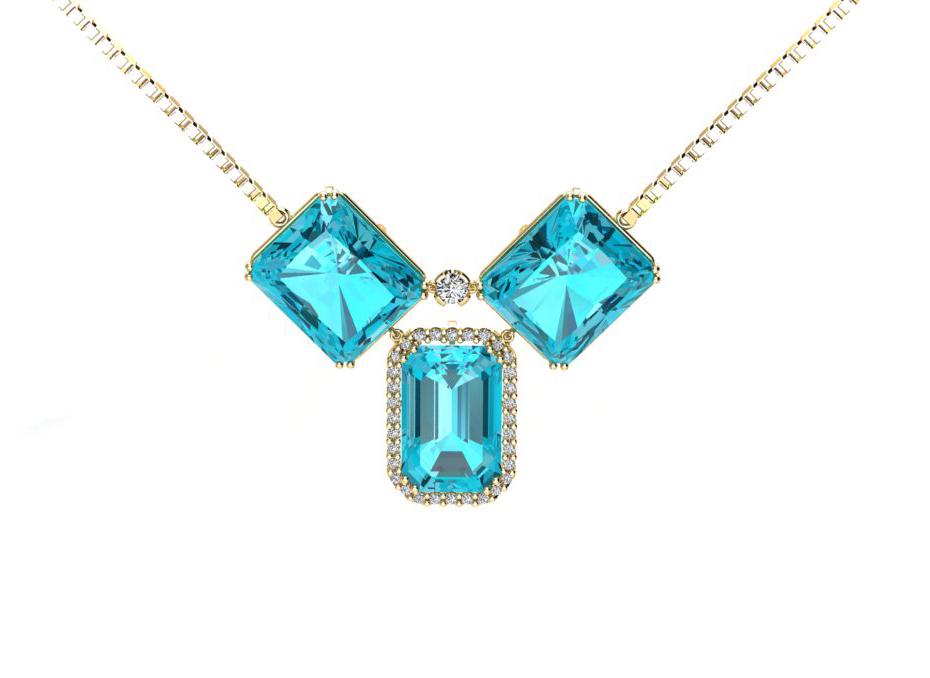 Pingente Belle Top�zio Azul