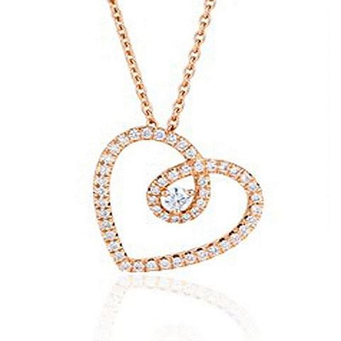 Pingente de Cora��o Cant� com Diamantes