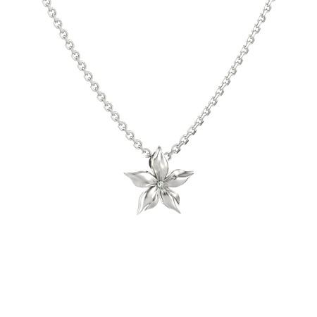 Pingente Estrela Esmeralda em Ouro Branco