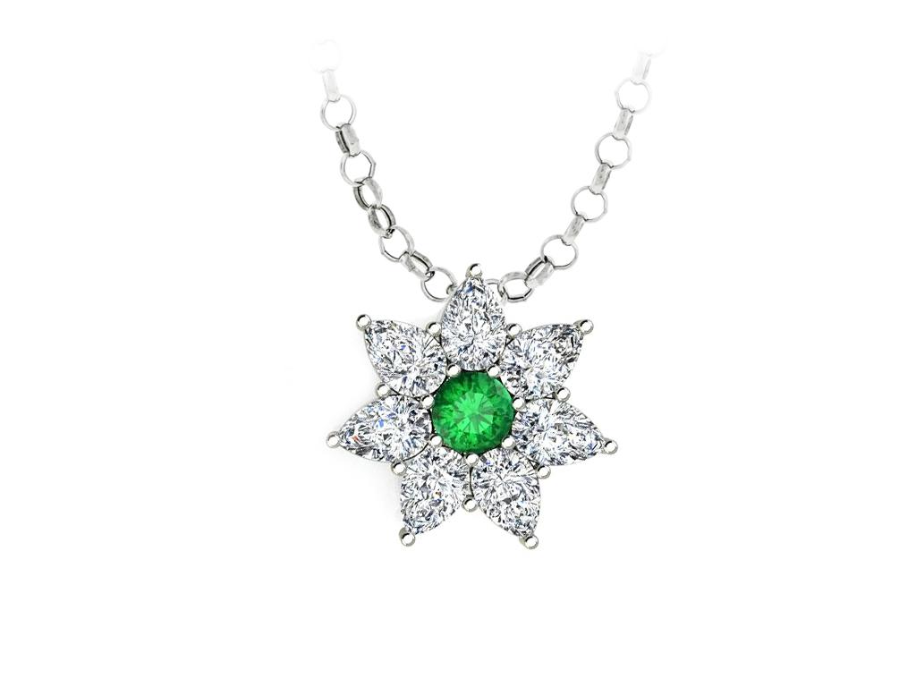 Pingente Estrelas de Esmeralda e Cristais